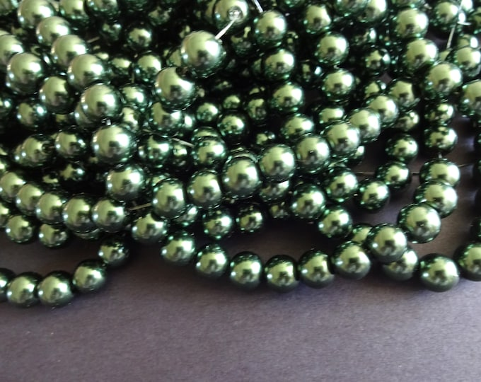 33 Inch Strand Forest Green Faux Pearl Glass Bead Strand, 8mm Ball Bead, About 106 Faux Pearls Per Strand, Pearlized Glass, Round Ball Beads