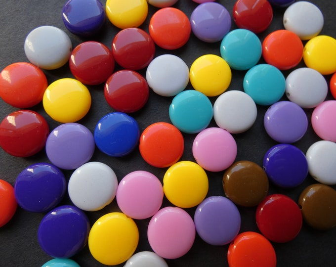50 Pack 14x5mm Flat Round Acrylic Beads, Mixed Color, Rainbow Bead, Solid Colors, Circle Bead, Colorful, 1mm Hole, Mix Of Bright Colors