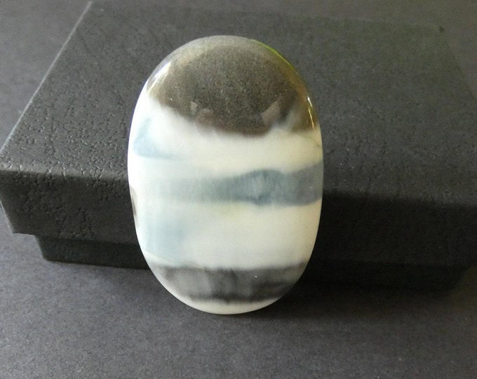 53x32mm Natural Owyhee Opal Cabochon, Large Oval, Gray and White, One Of A Kind, As Seen In Image, Only One Available, Striped Cab, 78.8 Ct.