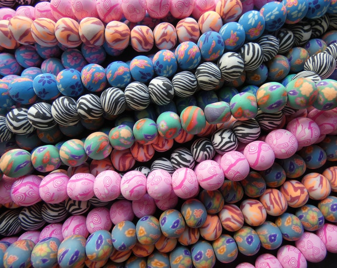 5 Pack 9mm Polymer Clay Bead Strand, 15 Inch Strands, About 250 Bead Lot, 9x7mm Round Clay Ball Bead, Mixed Colors, 2mm Hole, Floral Pattern