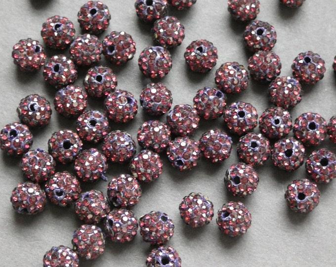 8mm Rhinestone Purple Ball Beads, Clay Rhinestone Beads, Disco Ball, Pave Beads, Clay Disco Purple Ball Bead, Round Rhinestone 8mm Bead