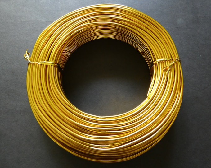 55 Meters Of 2mm Gold Aluminum Jewelry Wire, 2mm Diameter, 500 Grams Of Beading Wire, Golden Metal Wire For Jewelry Making & Wire Wrapping
