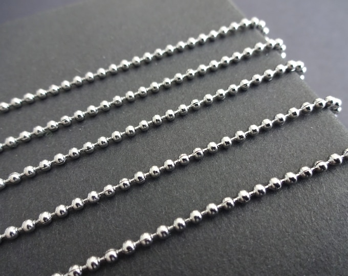 50 Meters 304 Stainless Steel Ball Chain, Soldered, 2mm Chain Bulk Lot, Silver Color, Spool Of Necklace Chain, Necklace Making Supply