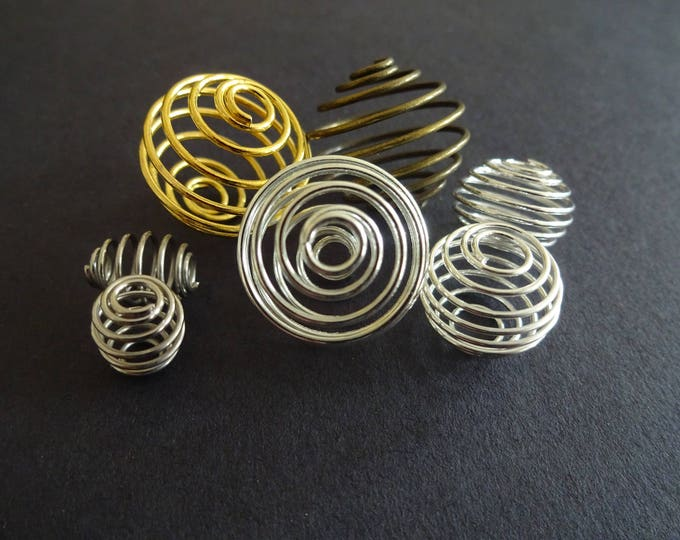 50 Gram Mixed Bag of 9-21mm Iron Bead Cages, About 30 pieces, Spiral Metal Cage, Necklace Supplies, Large Hole, Mixed Color, Spiral Cages