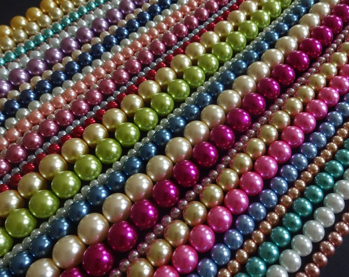 4-10mm Mixed Glass Faux Pearl Bead Strands, Ball Bead, 15 Inch Strands, About 42-112 Per Strand, Pearlized Glass, Round, Rainbow, Mixed Lot