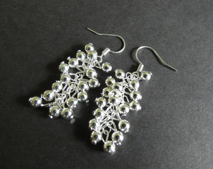 Silver Plated Brass Cluster Earrings, Silver Color Metal, Fish Hook, Women's Fashion Earrings, Pierced Ears, 50mm Long, Clustered Dangles
