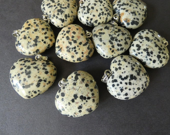 27-29mm Natural Dalmatian Jasper With Alloy Metal, Heart Pendant, Large Charms, Polished Gemstone Jewelry, Beige & Black Heart, Stone Charm