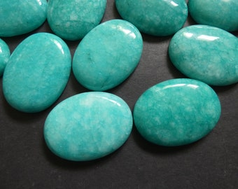 4pcs 8x10 10x8mm Natural Amazonite Calibrated Oval Cabochon Gems Jewelry Cabs