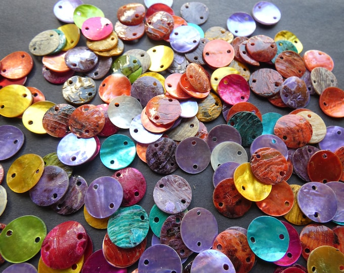 13mm Natural Shell Beads, Dyed, Mixed Colors, 1mm Hole, Drilled Shell Pieces, Chips, Drilled Seashell, Ocean Shells, Beach Jewelry Making