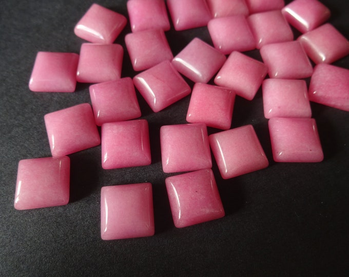 10x10mm Natural White Jade Gemstone Cabochon, Dyed, Pink Square Cab, Polished Gem Cabochon, Natural Stone, Jade Stone, Bright Pink Cabs