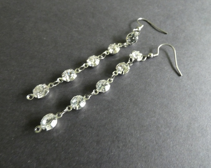 Rhinestone & 304 Stainless Steel Dangle Earrings, Silver Color Metal, Fish Hook, Long Dangling Women's Earrings, Pierced Ears, Perfect Gift