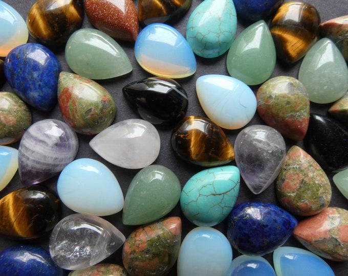 Set of 5 Teardrop Mixed Lot Gemstone Cabochons, 13x18x5mm, Drop Cabochon, Polished, Stone Cabochon, Natural Gemstone, Quartz, Agate, Unakite