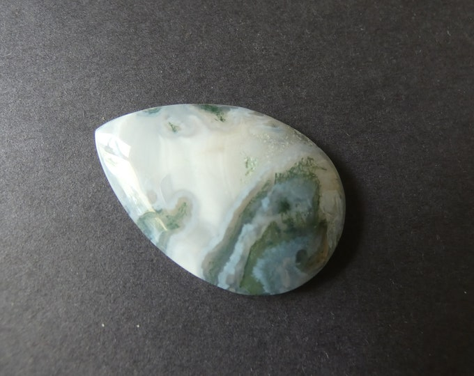 45x31mm Natural Moss Agate Cabochon,Teardrop, White & Gray, One Of A Kind,As Seen In Image, Only One Available, Agate Crystal Stone