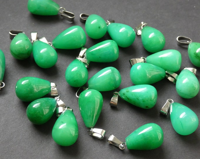 21-24mm Natural Malaysia Jade Charm With Brass Loop, Pear Teardrop Shaped, Polished Gem, Gemstone Jewelry Pendant, Green & Silver