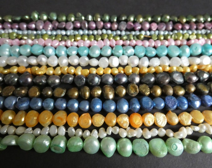 5 Pack 14 Inch Strands Of Natural Freshwater Pearl Beads, Dyed, About 55-100 Beads Per Strand, Mixed Colors & Sizes, Lot Of Drilled Pearls