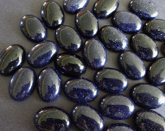18x13mm Blue Goldstone Cabochon, Synthetic Oval Gemstone Cabochon, Blue Stone, Polished Gem, Glittery, Golden Flecks, Sparkly, Navy Blue