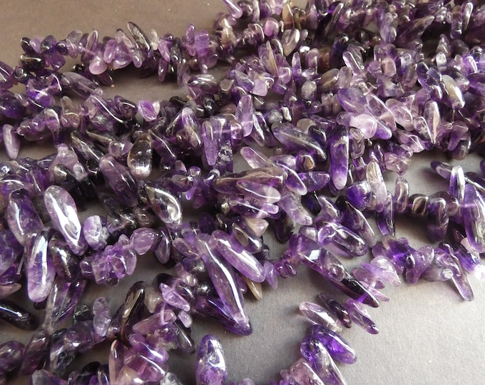 16 Inch 16-46mm Natural Amethyst Bead Strand, About 100 Stones, Deep Purple, Drilled Amethyst Chips, Polished, Birthstone Beads, 1mm Hole