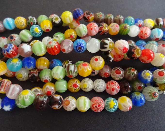 6mm Glass Millefiori Bead Strand, 14.5 Inch Strand, 65 Glass Ball Beads, Mixed Lot, Multicolor Bead, Flower Bead, Star Bead, Small Ball Bead