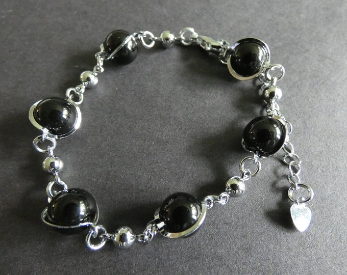 Glass and Metal Bead Bracelet, Alloy Metal & Glass Ball Beads, European Style, Adjustable With Extender, Silver and Black, Women's Fashion