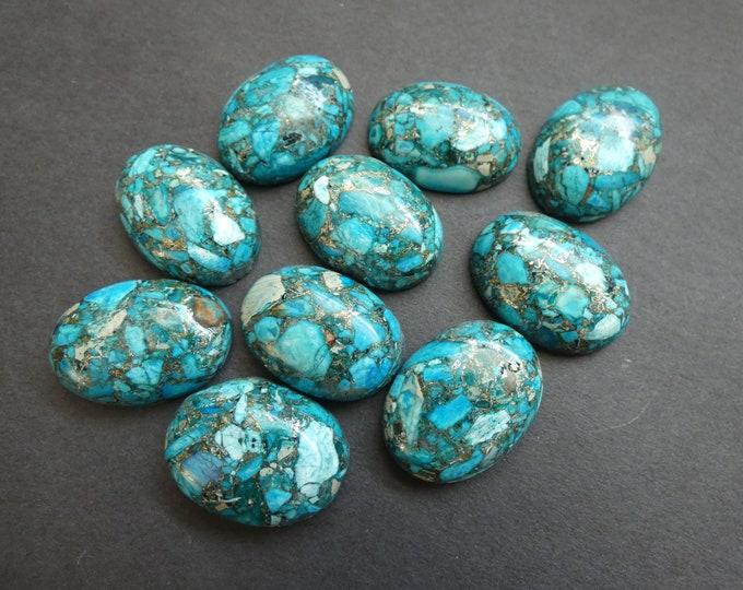 25x18mm Gold Lined Regalite Cabochon, Dyed Sky Blue, Gemstone Cabochon, Oval, Polished Gem, Fashion Cab, Colorful Stone, Metallic Cab