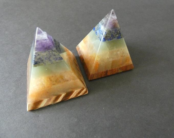 49x43mm Natural Gemstone Chakra Pyramid, Chakra Decoration, Polished Gem, Triangle Stone Decor, Rainbow, Display Crystal, Amethyst & More
