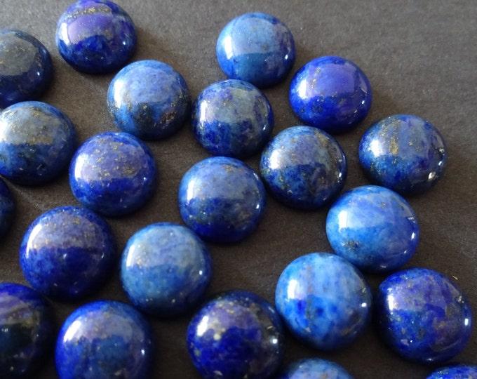 10mm Natural Lapis Lazuli Gemstone Cabochon Dyed, Round Dome Cabochon, Polished, Blue Gemstone, Mineral Stone, Lapis Stone, Golden Flecks