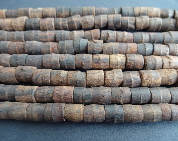 29 Inch Strand Wood Tube Bead, Dyed, About 110 Beads Per Strand, 7x6mm-8x8mm, Dark Brown Wooden Bead, Natural Bead, Earthy, Round Tubes