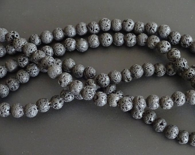 8mm Natural Black Lava Stone Beads, Dyed, About 51 Beads per Strand, Textured, Black Ball Bead, Stone Ball Bead, Pumice Stone, Black Stone