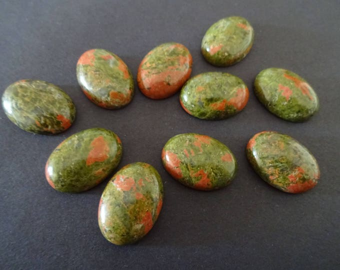 25x18mm Natural Unakite Gemstone Cabochon, Oval Cabochon, Polished Gem, Stone Cabochon, Natural Gemstone, Green and Pink Stone, Polished