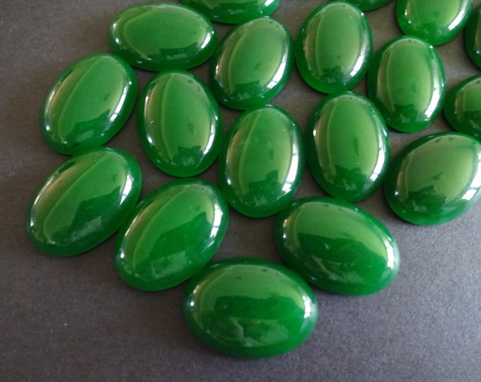 25x18mm Natural Malaysia Jade Gemstone Cabochon, Oval Cabochon, Polished Gem, Green Cabochon, Natural Stone, Jade Stone, Bold Green Jade