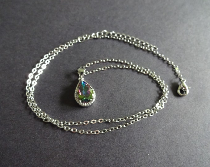 Brass & Cubic Zirconia Pendant Necklace, Silver Color, Teardrop Design, Lobster Claw Clasp, 18 Inches, Chain With Pendant, Multicolor Drop