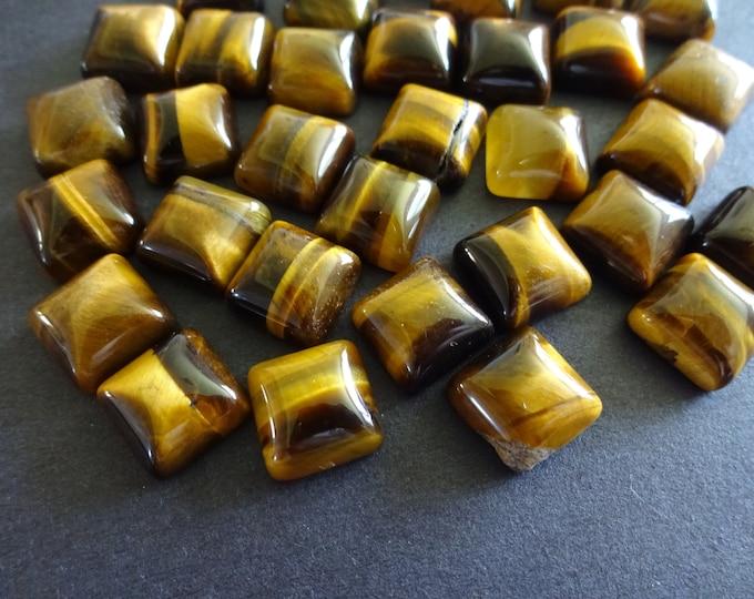 10x10mm Natural Tiger Eye Cabochon, Square Gemstone Cabochon, Brown Stone, Polished Gem, Tigereye Gemstone, Tiger's Eye, High Grade