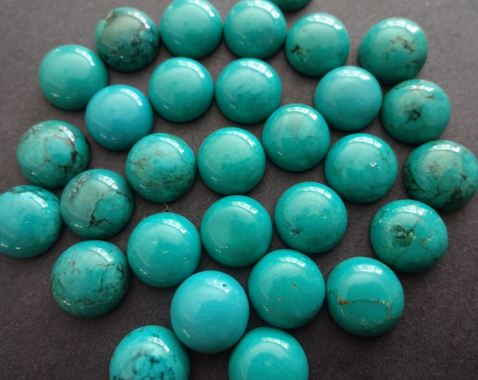 10x5mm Natural Turquoise Gemstone Cabochon, Dyed, Sinkiang Turquoise Dome Cabochon, Polished, Natural Stone, High Grade, Turquoise Jewelry