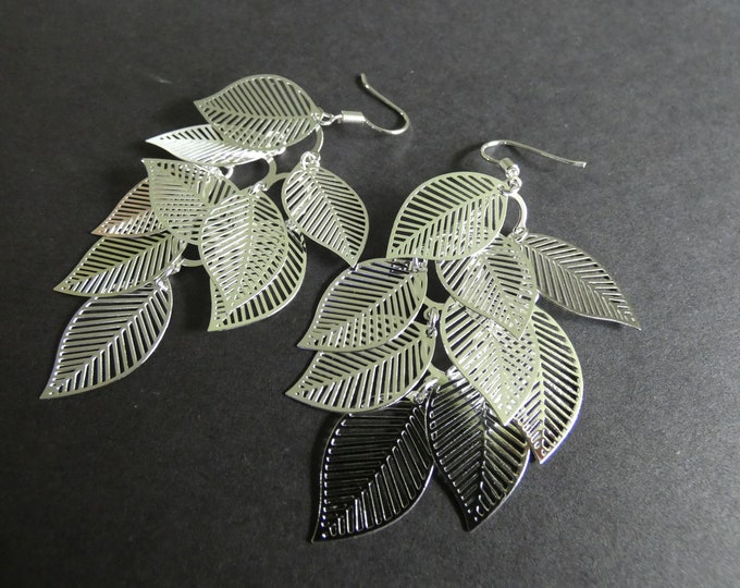 Brass Leaf Dangle Earrings, Silver Color Metal, Fish Hook, Leaves, Leaf Jewelry, Nature Design, 76mm Long, Dangle Earrings, Boho Theme