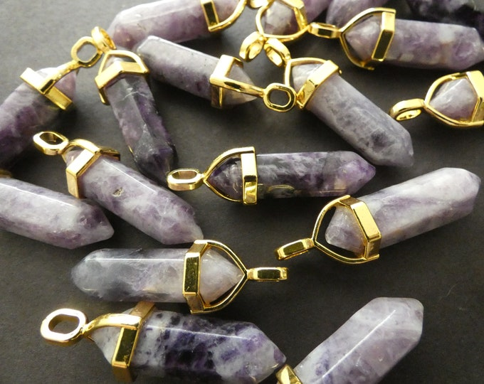 37-40mm Natural Charoite Pendant With Alloy, Faceted, Bullet Shaped, Polished Gem, Gemstone Jewelry Pendant, Purple Crystal With Gold Color