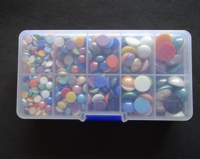 About 600 Pearlized Glass Cabochons Kit, 6-14x3-5.5mm, Half Round Dome, Organizer Case, Jewelry Box, Mixed Color and Size, Rainbow
