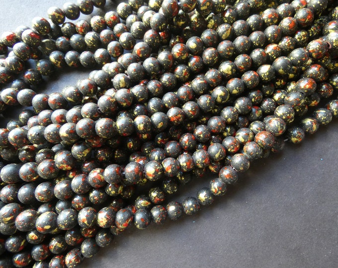31 Inch 8mm Baked Glass Bead Strand, 8mm Ball Beads, Dyed, About 100 Beads Per Strand, Black and Red, 1mm Hole, Painted, Splatter Pattern
