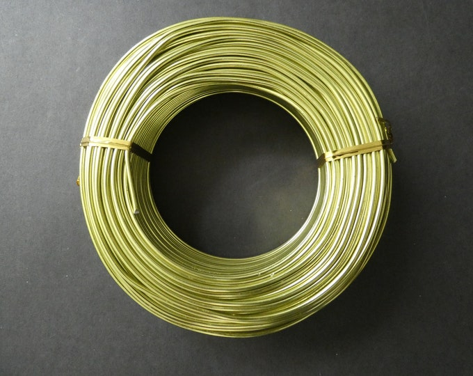 55 Meters Of 2mm Green Yellow Aluminum Jewelry Wire, 2mm Diameter, 500 Grams Beading Wire, Yellow Metal Wire, Jewelry Making & Wire Wrapping