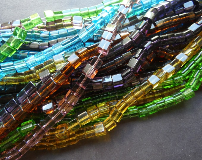5 Pack 6mm Transparent Glass Square Bead Strand, About 55 Beads, 6x6mm Cube Bead, Classic Bead, Basic Bead, Rainbow Bead Lot, Mixed Colors