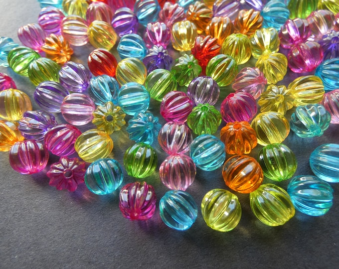 200 Pack 9mm Transparent Ball Acrylic Beads, 9x8.5mm Round Lined Ball Bead, Mixed Color, Rainbow Bead, Transparent, Colorful, 2mm Hole,