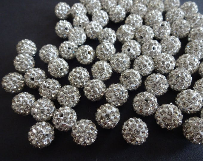 10mm Clear Rhinestone Ball Beads, Clay Rhinestone Beads, Disco Ball Rhinestone, Pave Beads, Clay Disco Ball Bead, Round Rhinestone 10mm Bead