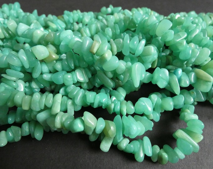 32 Inch 6-13mm Natural Hemimorphite Bead Chip Strand, About 300 Nugget Beads, Calamine Chips, Bright Green, Natural Gemstone, Stone Bead