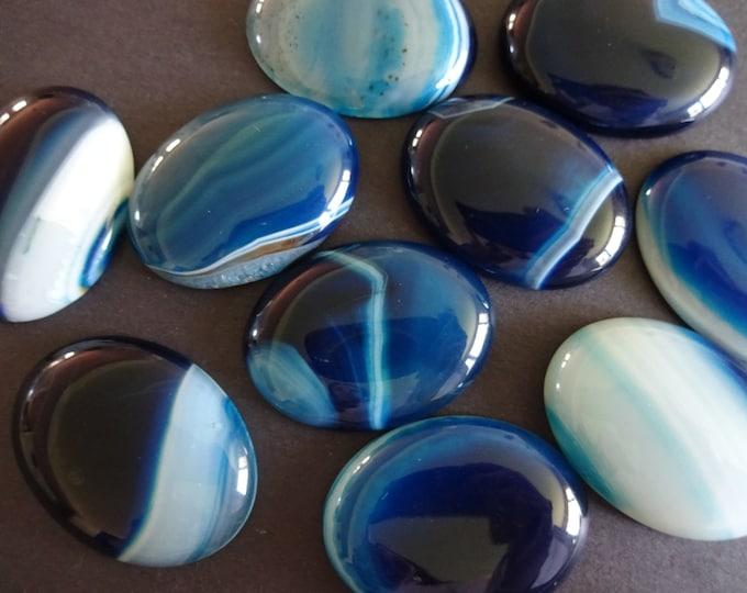 40x30mm Natural Striped Agate Gemstone Cabochon, Oval Cabochon, Polished Agate, Blue Cabochon, Natural Stone, Agate, Striped, Swirls, Teal