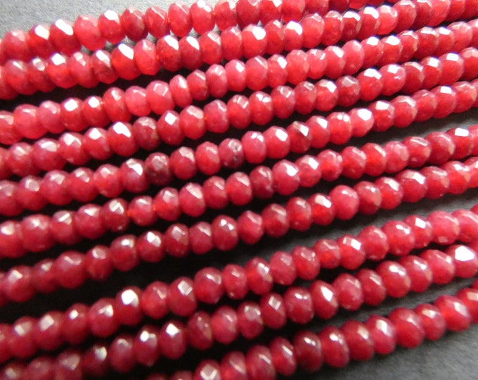 15 Inch 4x2mm Natural Malaysia Jade Bead Strand, Dyed, 144 Faceted Rondelle Bead, Deep Red Jade Stones, Natural Gemstone Beads, 1mm Hole