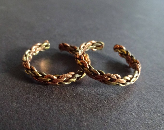 Chain Link Ring, Copper and Brass, Adjustable Ring, Two Tone Ring, Copper Band, Linked Ring, Copper Band, Adjustable Band, Twist Ring