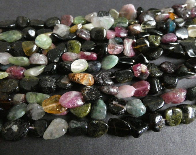 15-16 Inch 10-18mm Natural Tourmaline Bead Strand, About 30-40, Nugget Beads, Pink and Green Stone, Gems, Mixed Shape and Size, Polished
