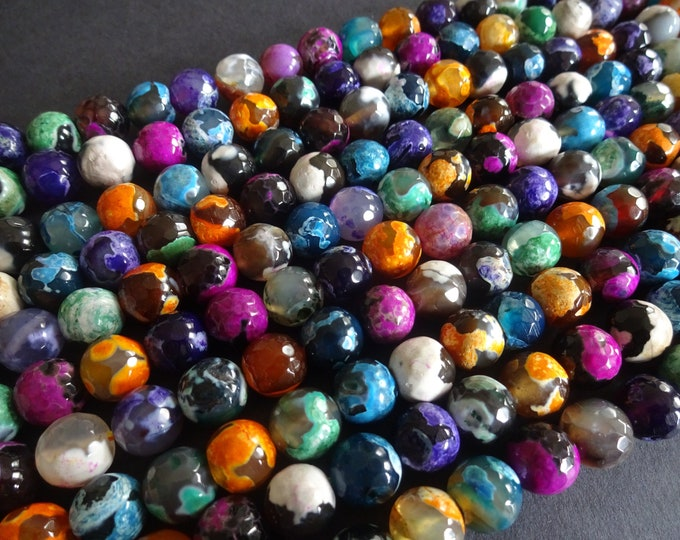 37+ Agate Ball Beads, 9-10mm, Dyed and Heated, Faceted, 13+ Inch Strand, Gemstone Beads, Natural Beautiful Stone, Mixed Color Stone, Bright