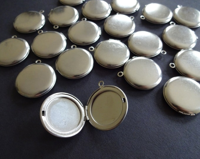 304 Stainless Steel Locket Pendant, 31mm Circle Pendant, Metal Focal, Custom Jewelry Making, Basic Photo Locket Charms, 20mm Inside Diameter