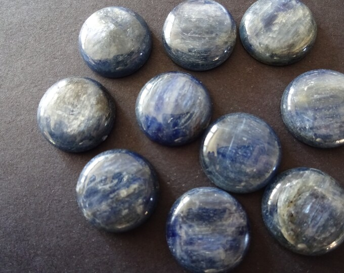 18x5mm Natural Kyanite Cabochon, Round Cabochon, Polished Stone, Blue Cabochon, Natural Stone, Deep Blue, Silvery Effect, Gemstone Jewelry
