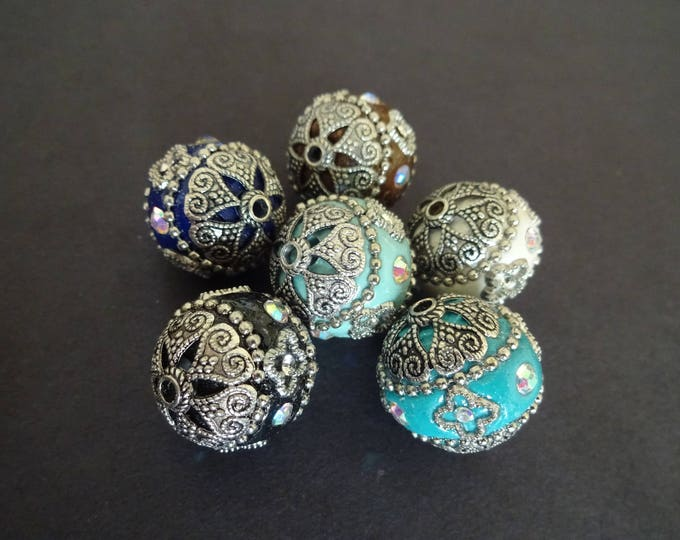 20mm Handmade Rhinestone Indonesia Ball Beads, Alloy Metal Color Cores, Mixed Lot, Multicolor, Intricate Bead, Handcrafted, Detailed, Round